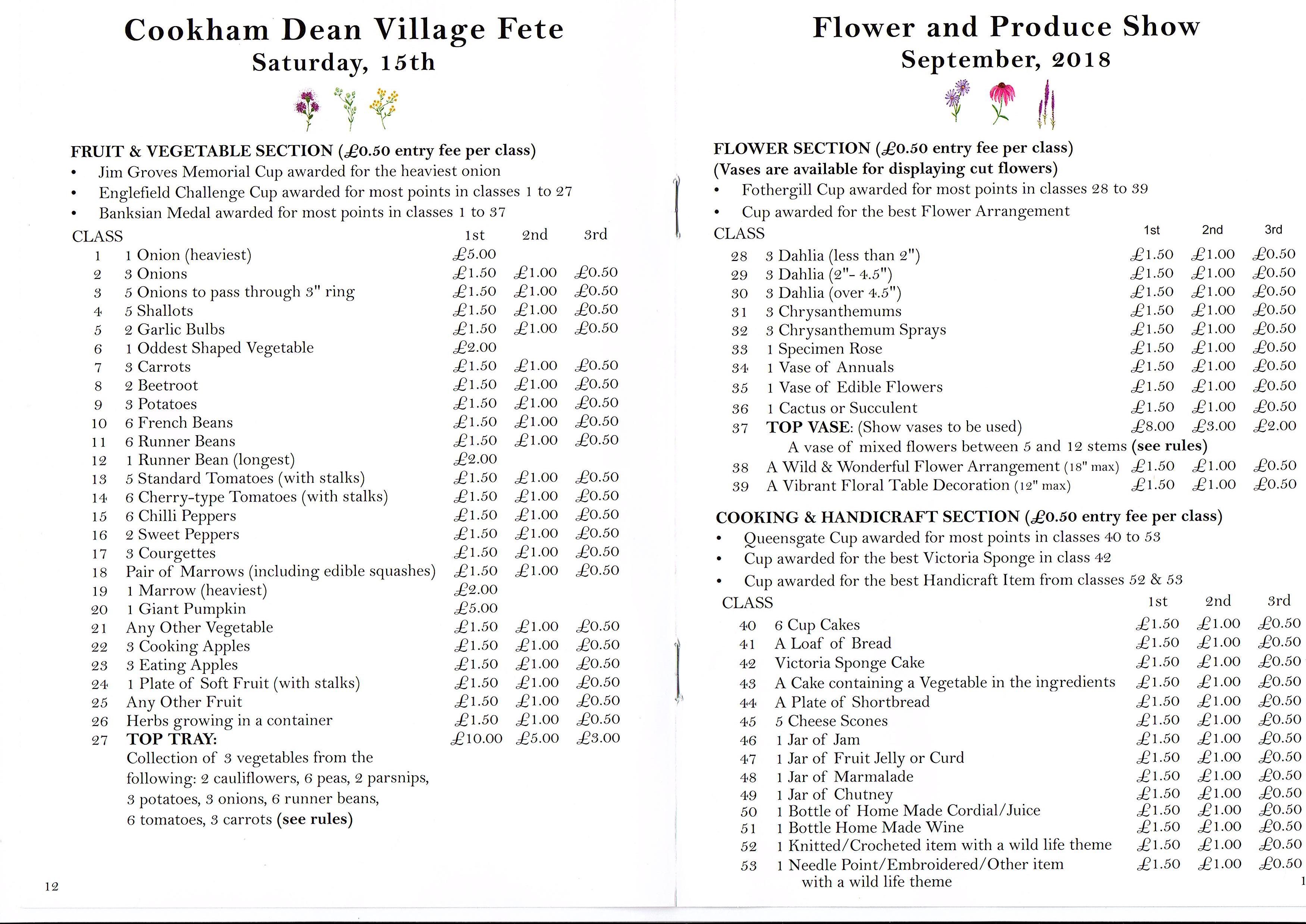 Cookham show schedule 2018